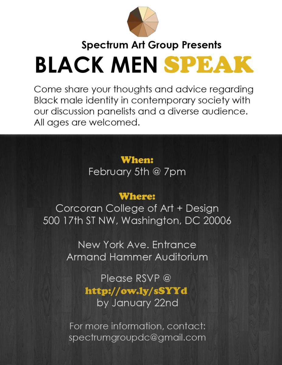 Promo image for Spectrum Art Group event: Black Men Speak