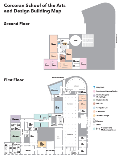 map of first and second floor of corcoran building