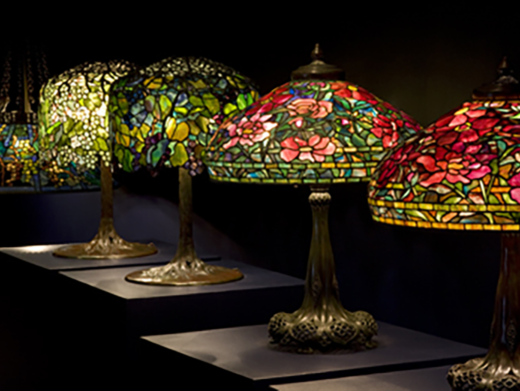 interior view neudstad collection of Tiffany glass lamps