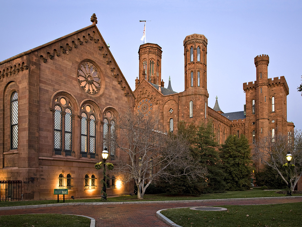 Smithsonian castle at dusk
