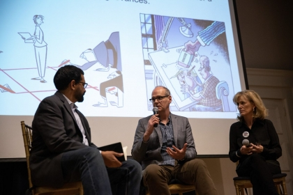 Rogers and Telnaes discuss censorship with Sethi at the Corcoran.