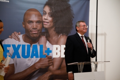 Michael Kharfen of the D.C. Department of Health speaks at the Sexual+Being campaign launch event Thursday. (William Atkins/GW T