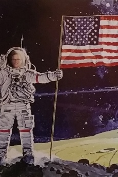 photo of barbara brennan photoshopped onto an astronaut with the american flag on the moon