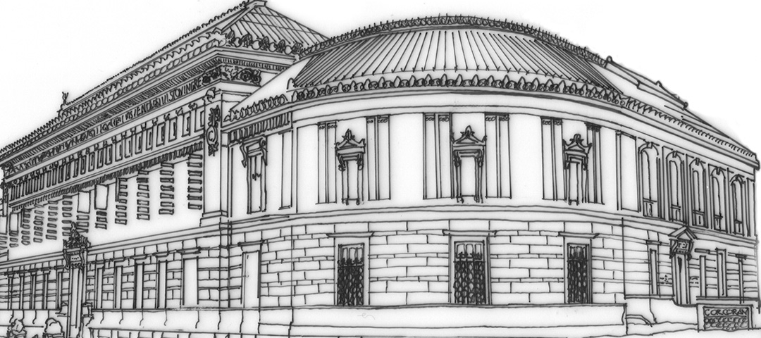 A sketch of Ernest Flagg's designs for the Corcoran building and facade.