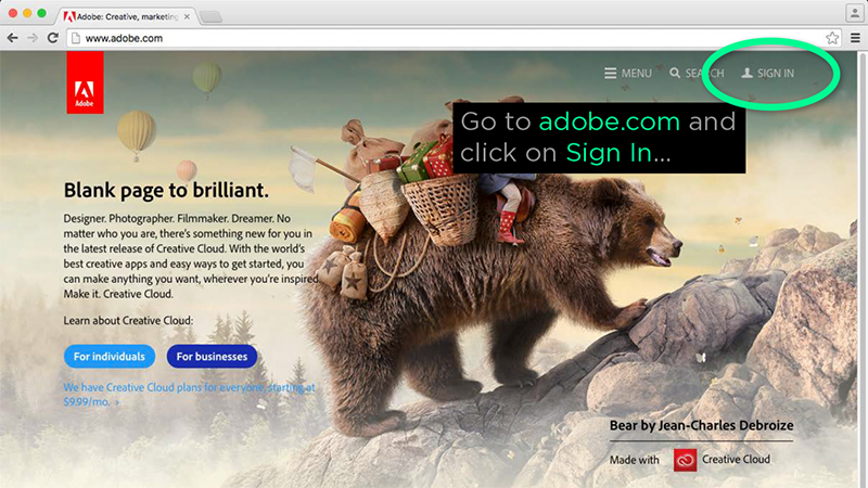 Adobe sign in page
