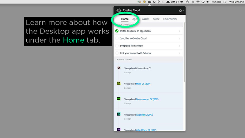 Desktop app Home tab