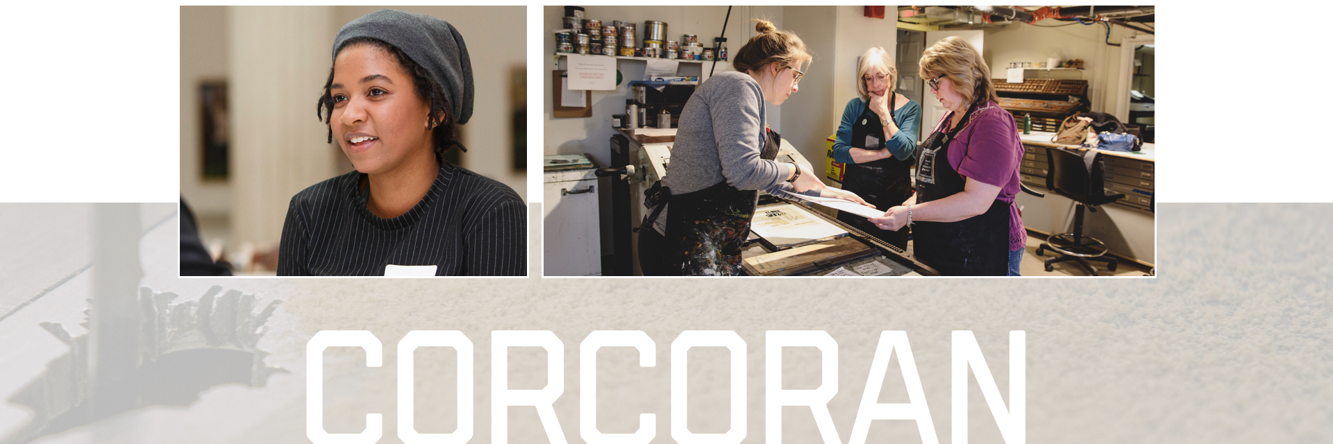 Corcoran; smiling female student; female students working over printer