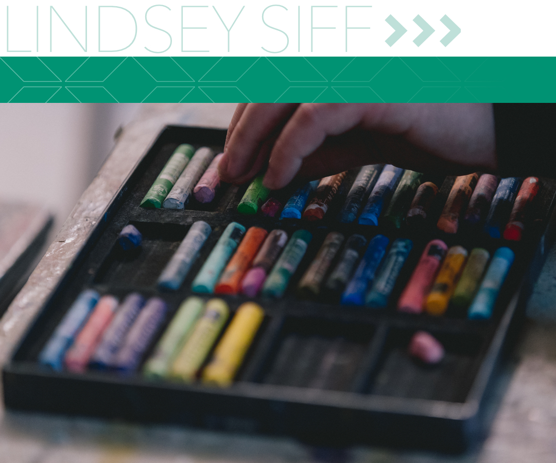 Lindsay Siff; hands sorting through drawing tools