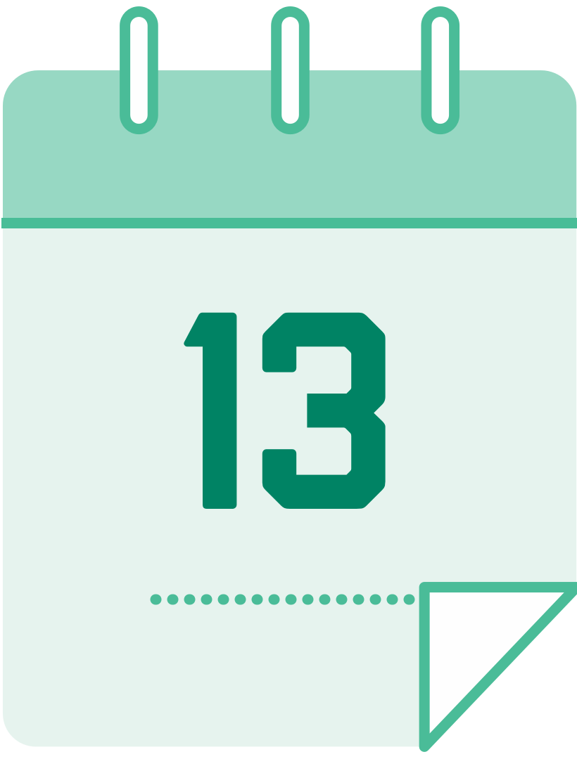 calendar icon with the number 13