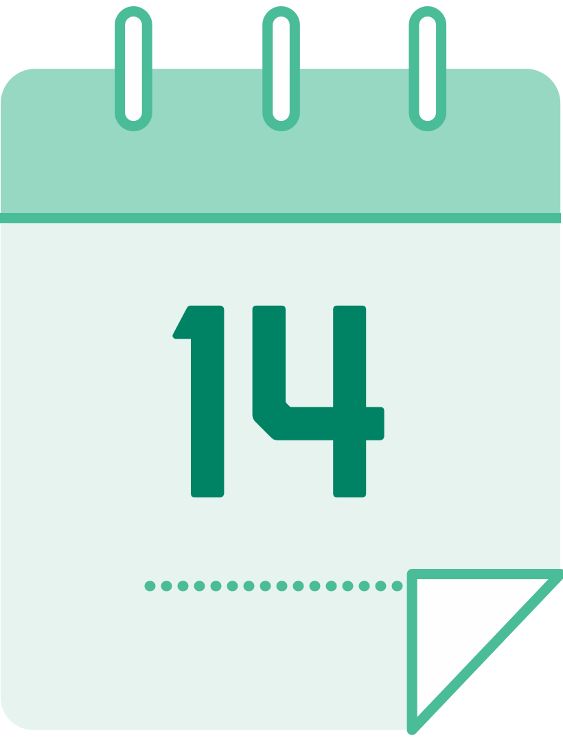 calendar icon with the number 14