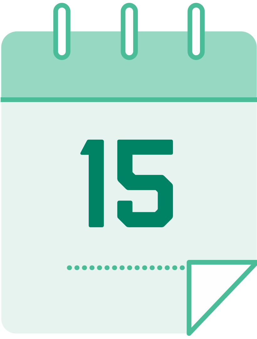 calendar icon with the number 15