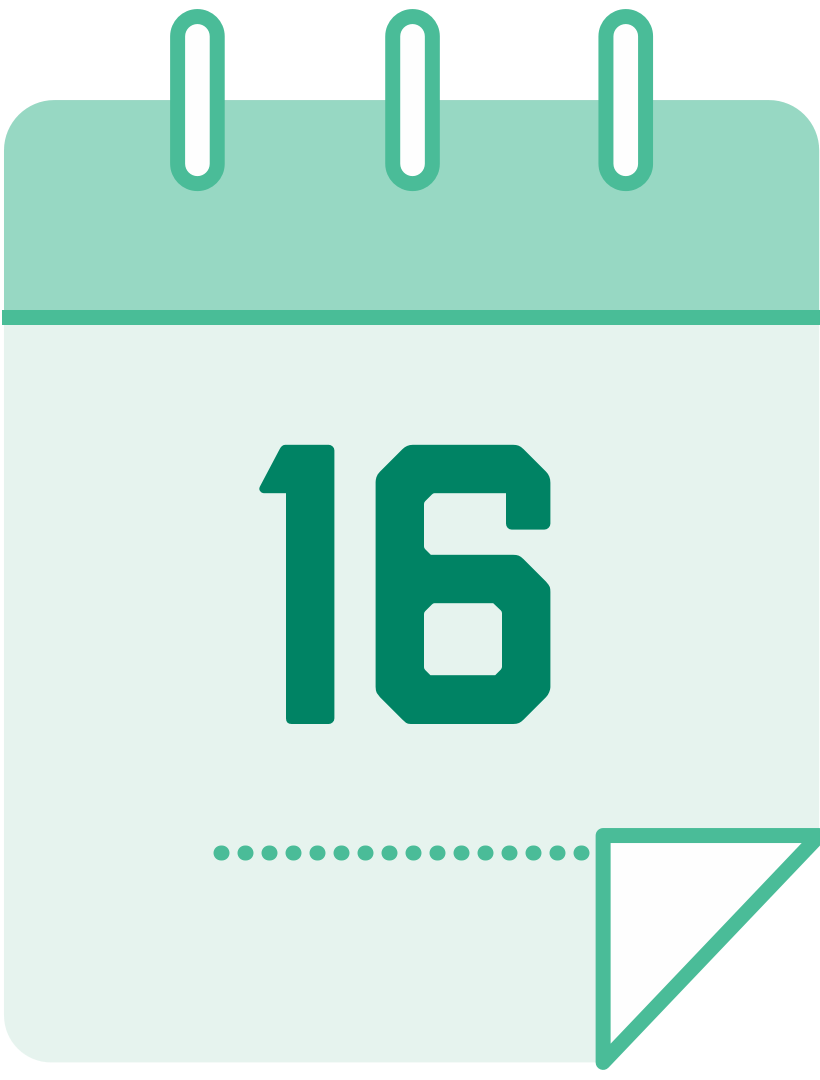 calendar icon with the number 16