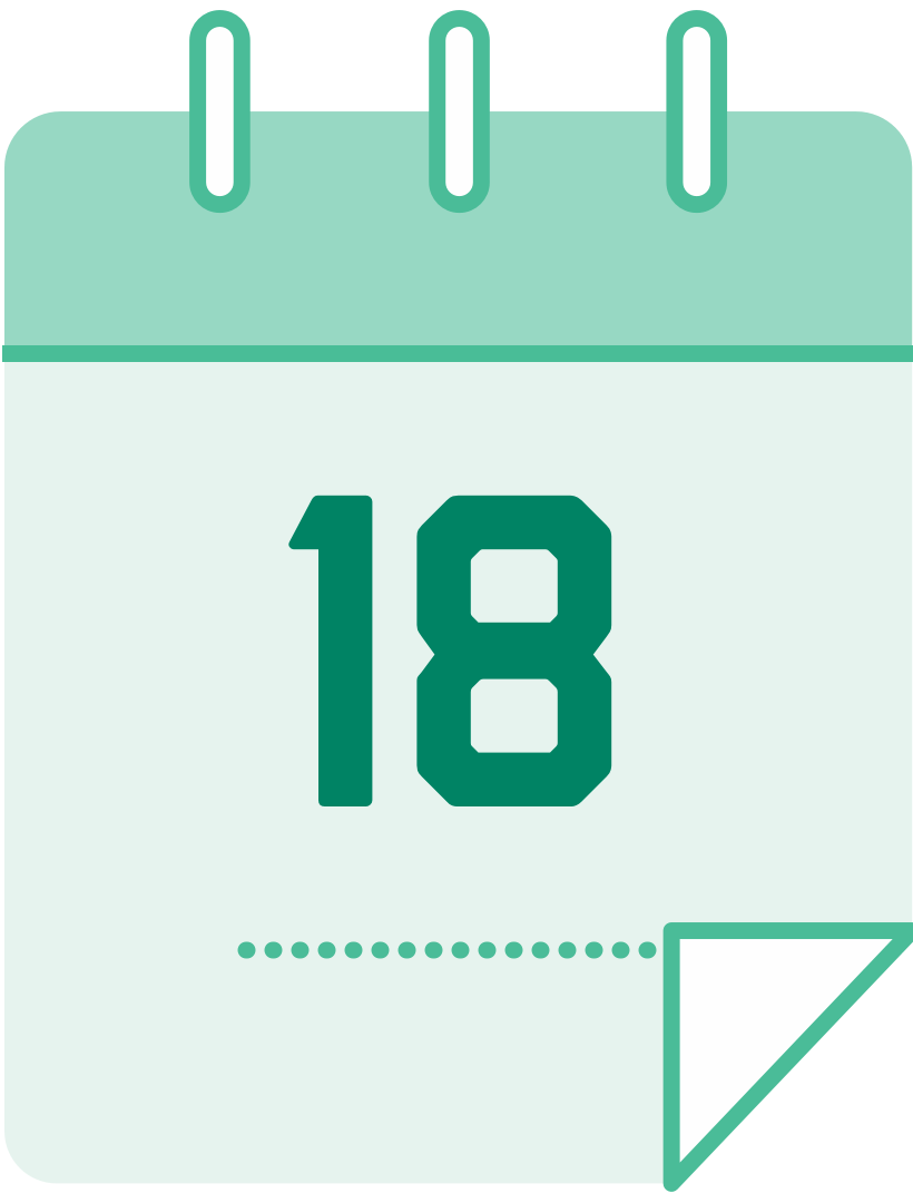 calendar icon with the number 18