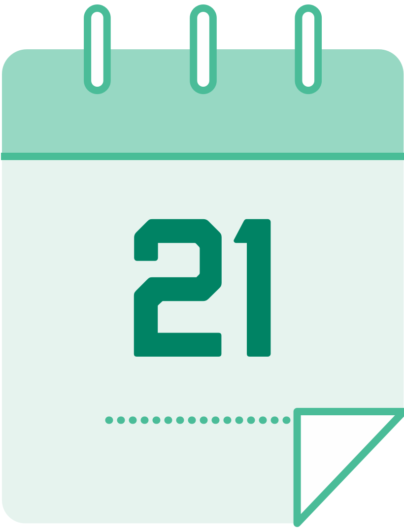 calendar icon with the number 21
