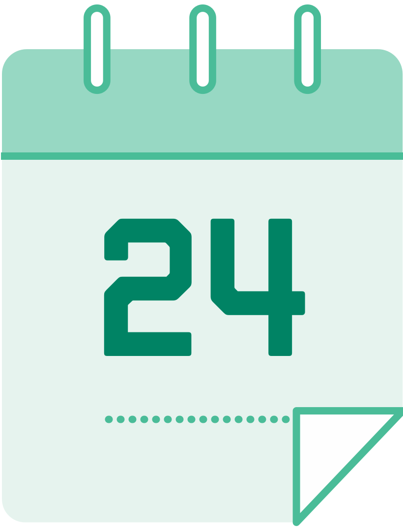 calendar icon with the number 24