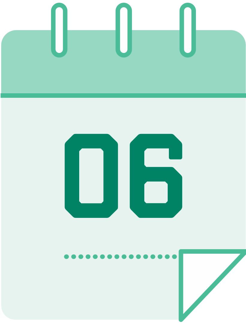 calendar icon with the number 6