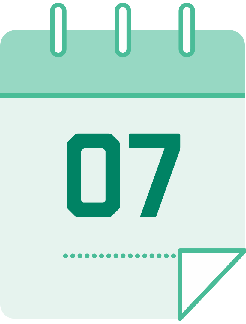 calendar icon with the number 7
