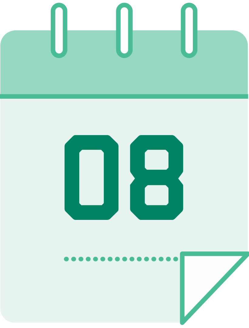 calendar icon with the number 8