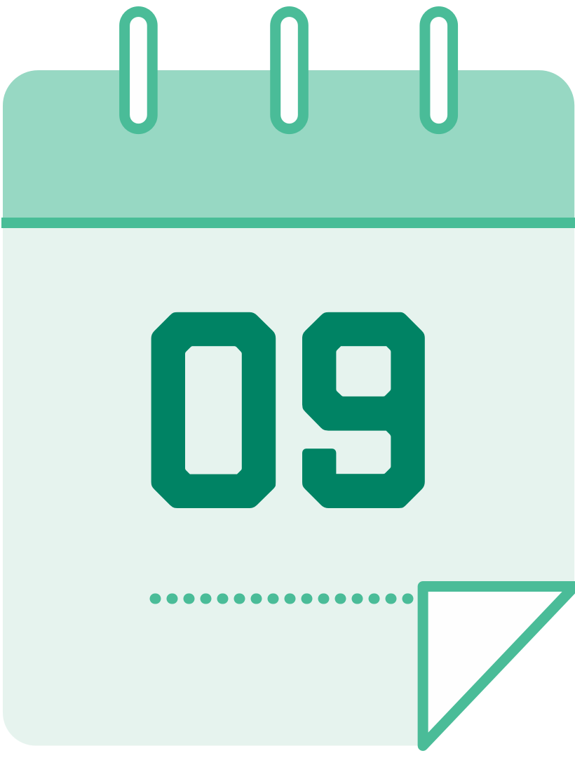 calendar icon with the number 9