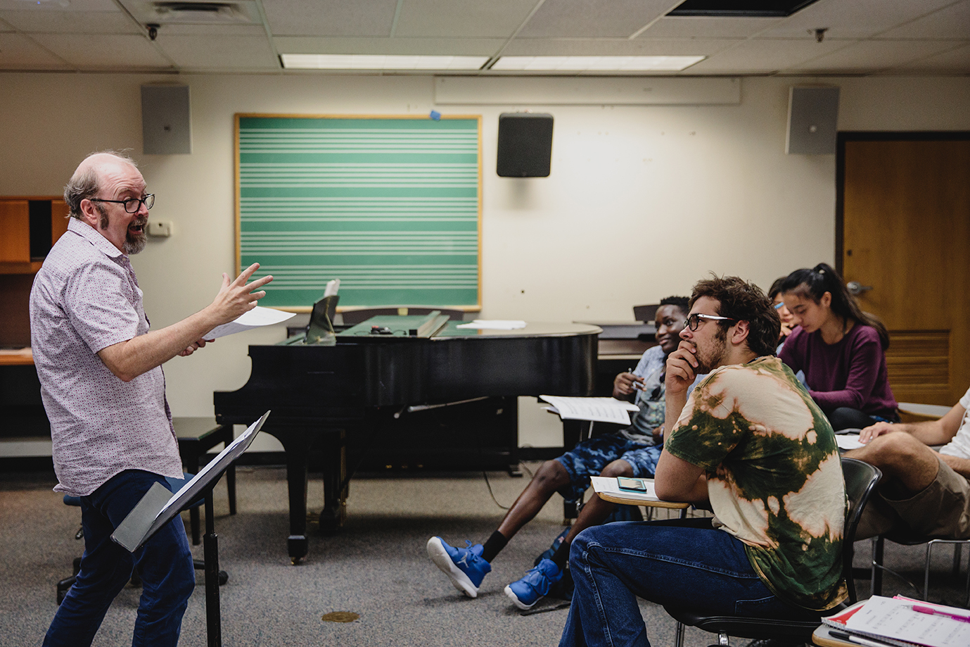 Professor of music lectures to students
