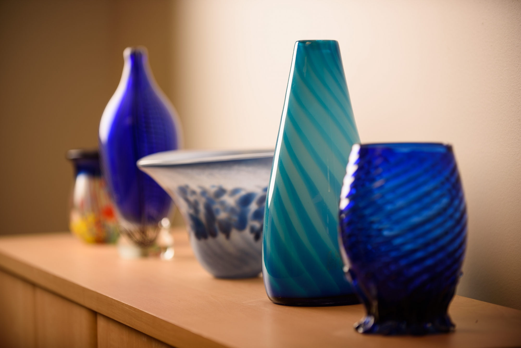Decorative blue glass vases
