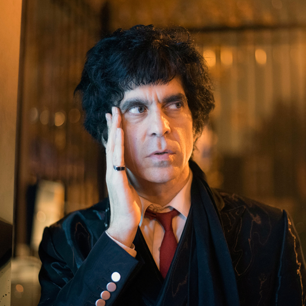 Ian Svenonius on street at night