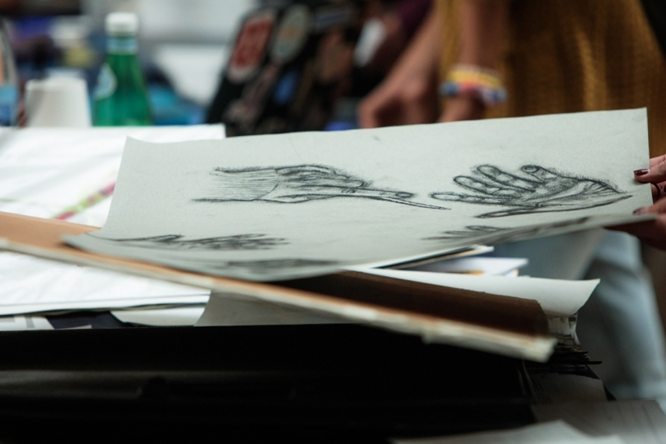 Image of student sketchbook during National Portfolio Day