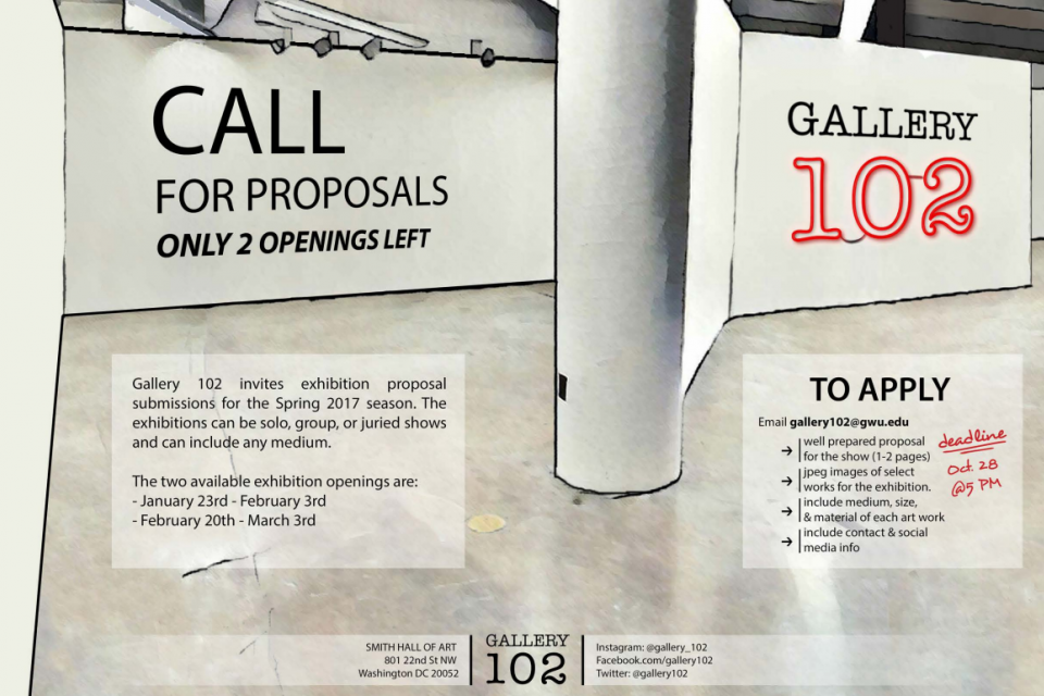 Poster for Gallery 102 call for proposals