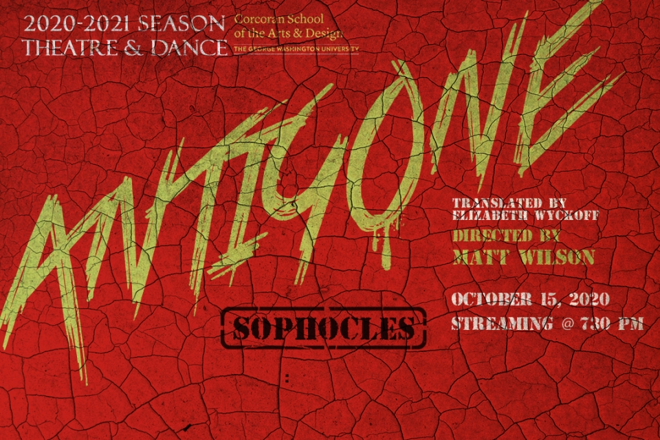Red Antigone play poster