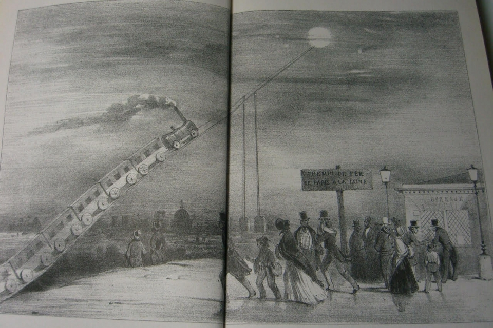 Old line drawing of a train on a track to the moon with spectators