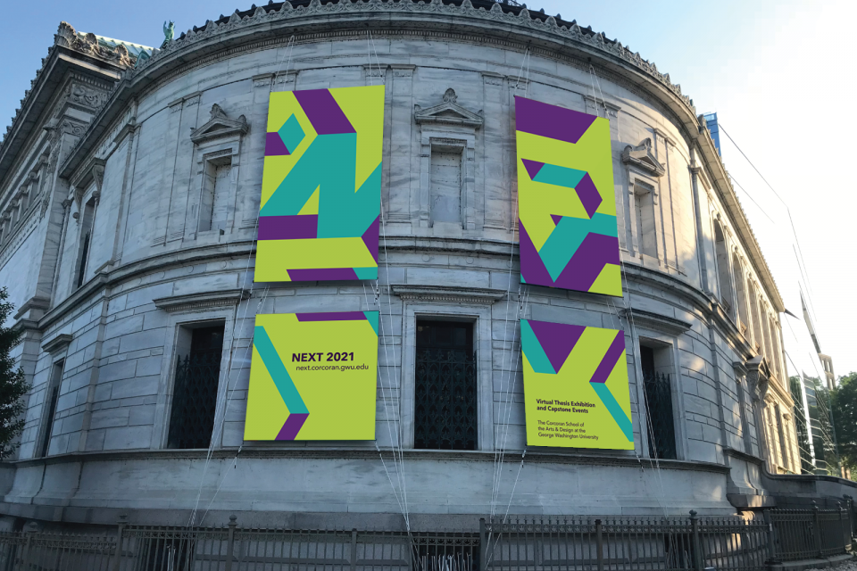 NEXT 2021 banners hung outside of the Flagg Building