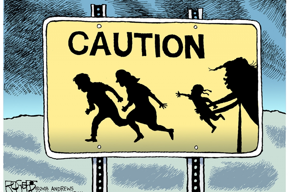 One of Rogers' cartoons that depicts a caution sign.