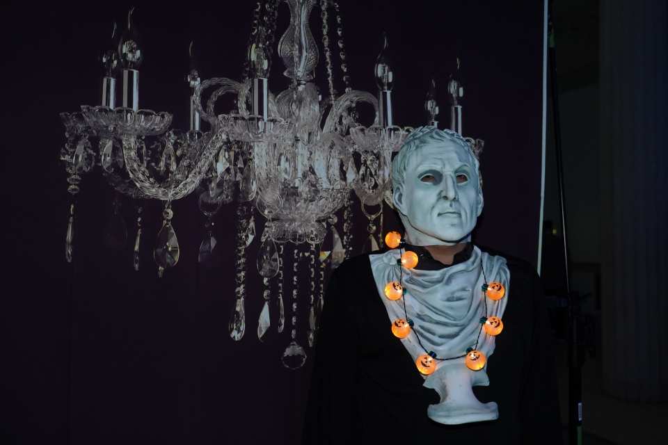 Spooky Decorations and Chandelier