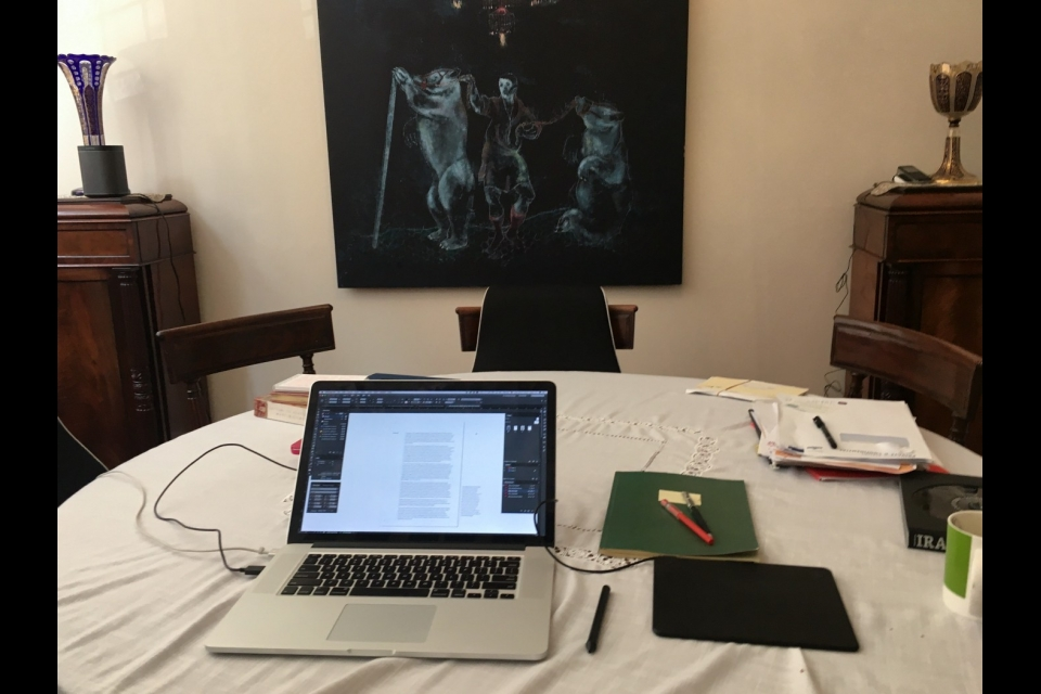 one of the many makeshift, dining table studios