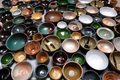 A wide range of handmade bowls in all shapes, sizes, and colors.