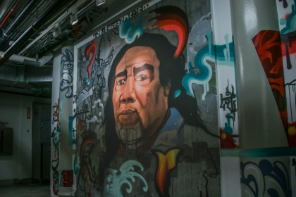 Portion of the mural by Joerael Numina. Feature a large portrait of a member of the Piscataway Nation done in Graffiti.