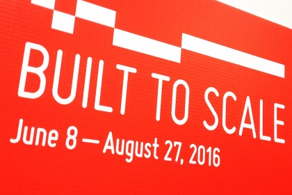 The Built to Scale Exhibition poster with dates
