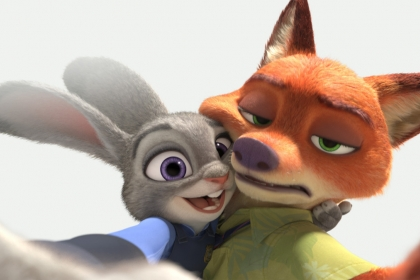 An animated rabbit and fox take a selfie